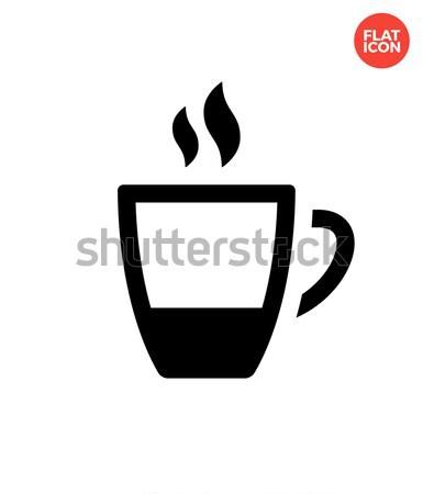 Stock fotó: Kávéscsésze · ikon · fehér · otthon · étterem · felirat