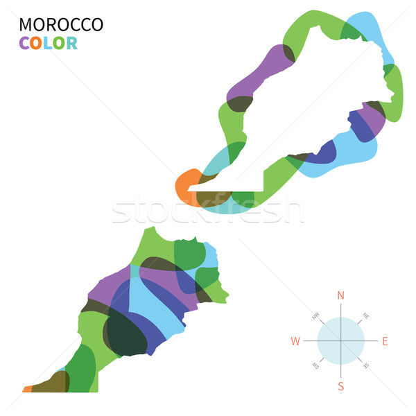 Abstract vector color map of Morocco with transparent paint effect. Stock photo © tkacchuk