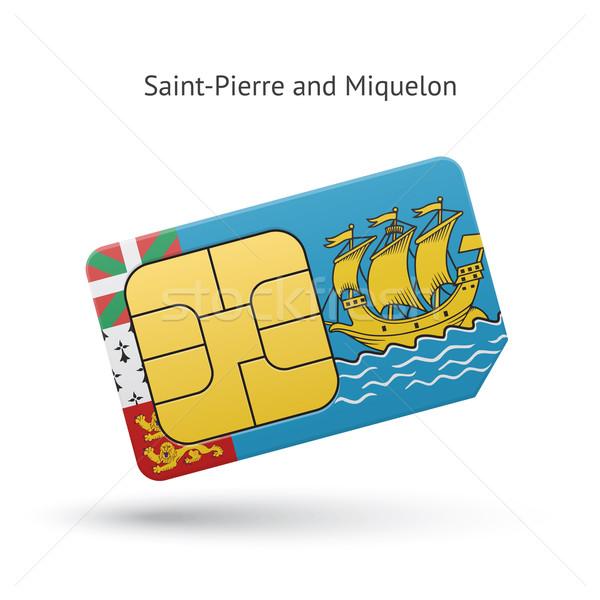 Saint-Pierre and Miquelon mobile phone sim card with flag. Stock photo © tkacchuk