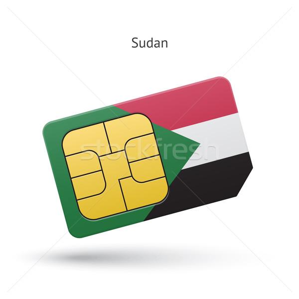 Sudan telefonu komórkowego karty banderą działalności projektu Zdjęcia stock © tkacchuk