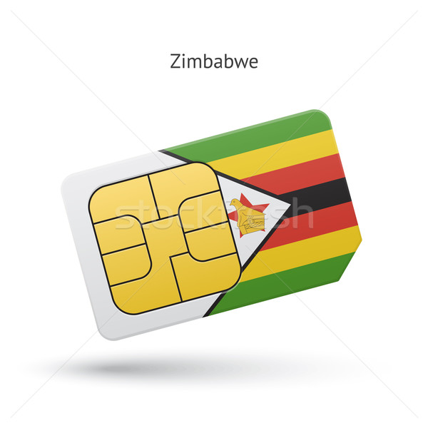 Zimbabwe mobile phone sim card with flag. Stock photo © tkacchuk