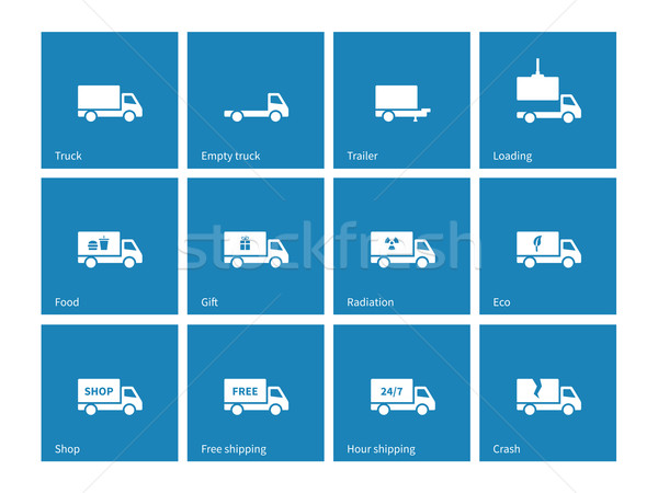 Commercial delivery truck icons on blue background. Stock photo © tkacchuk