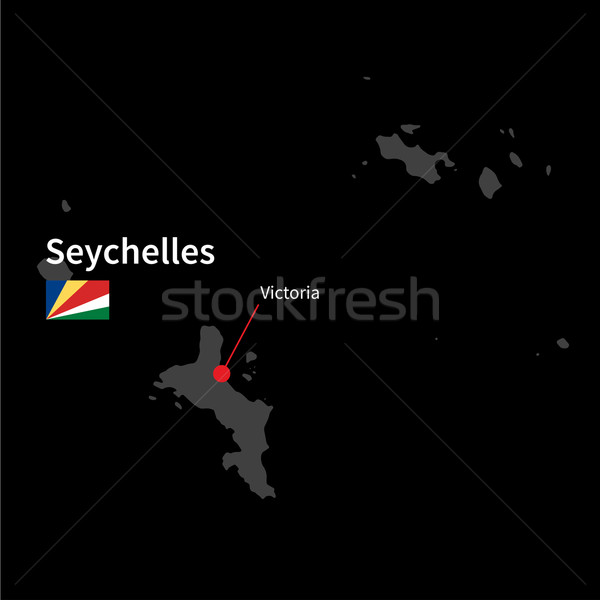 Stock photo: Detailed map of Seychelles and capital city Victoria with flag on black background