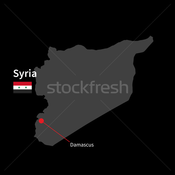 Detalhado mapa Síria cidade bandeira preto Foto stock © tkacchuk
