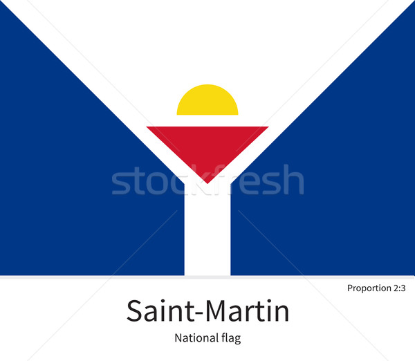 National flag of Saint-Martin with correct proportions, element, colors Stock photo © tkacchuk