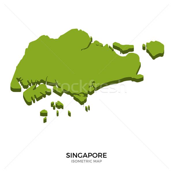 アイソメトリック 地図 シンガポール 詳しい 孤立した 3D ストックフォト © tkacchuk