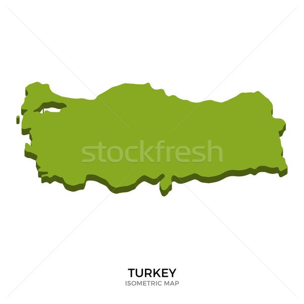 アイソメトリック 地図 トルコ 詳しい 孤立した 3D ストックフォト © tkacchuk