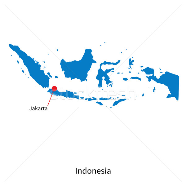 Stock photo: Detailed vector map of Indonesia and capital city Jakarta