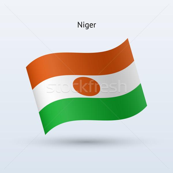Niger flag waving form. Vector illustration. Stock photo © tkacchuk