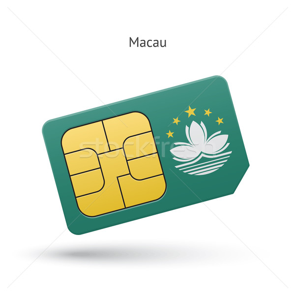 Macau mobile phone sim card with flag. Stock photo © tkacchuk