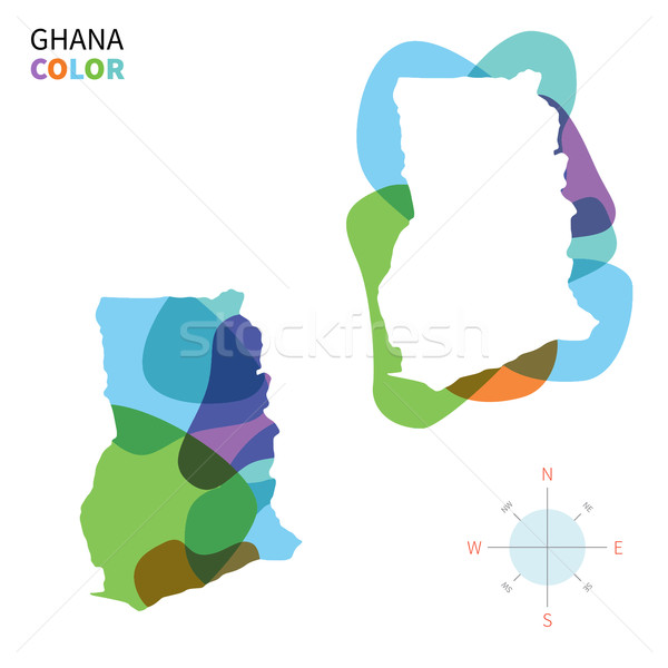 Abstract vector color map of Ghana with transparent paint effect. Stock photo © tkacchuk