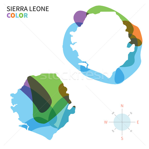 Abstract vector color map of Sierra Leone with transparent paint effect. Stock photo © tkacchuk