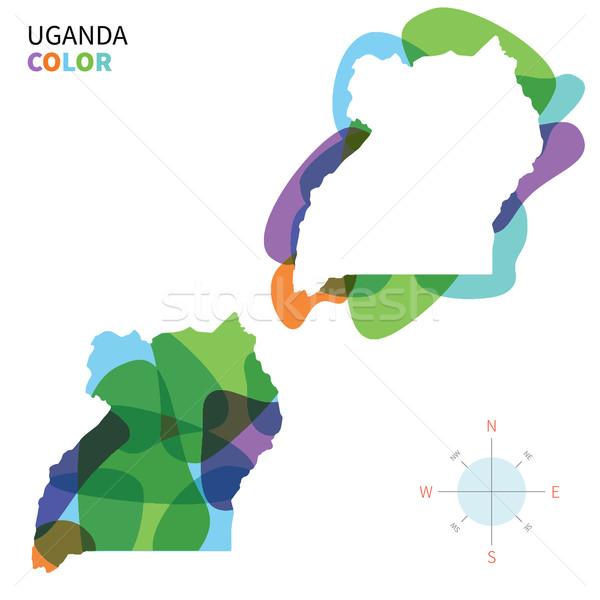 Stock fotó: Absztrakt · vektor · szín · térkép · Uganda · átlátszó