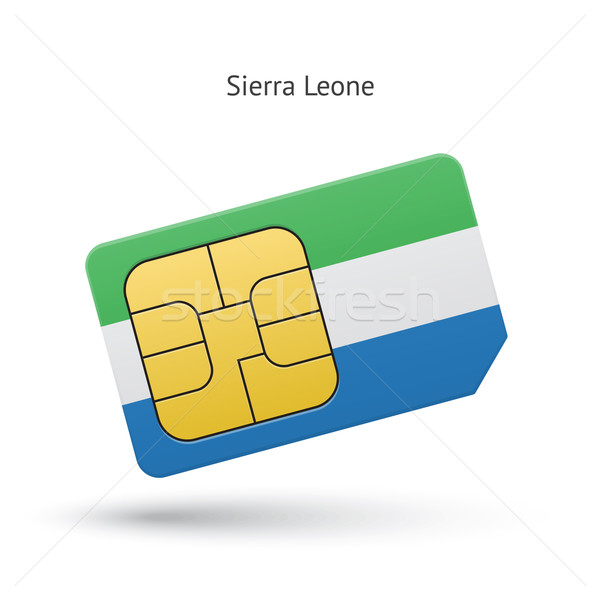 Sierra Leone mobile phone sim card with flag. Stock photo © tkacchuk
