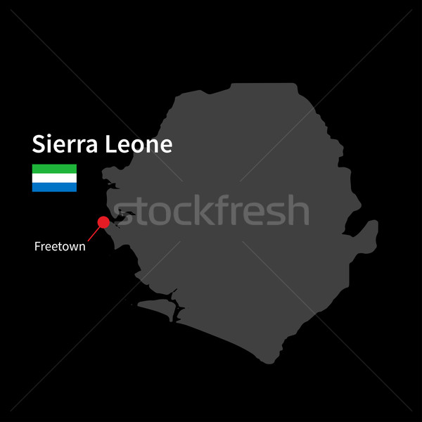 Detailed map of Sierra Leone and capital city Freetown with flag on black background Stock photo © tkacchuk