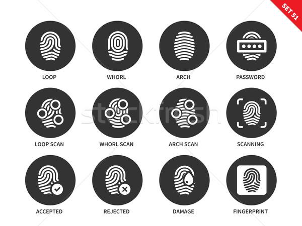 отпечатков пальцев иконки белый вектора доступ Сток-фото © tkacchuk