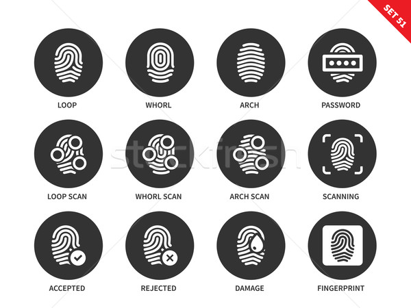 Huellas dactilares iconos blanco vector acceso Foto stock © tkacchuk