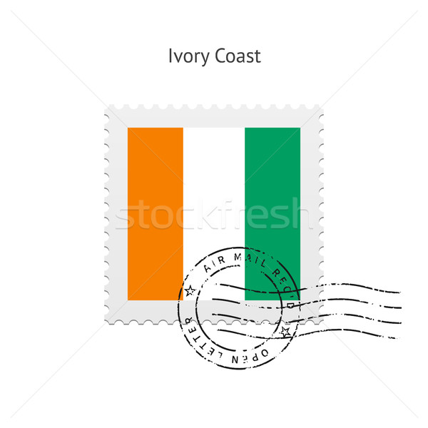 Elefántcsontpart zászló postabélyeg fehér felirat levél Stock fotó © tkacchuk