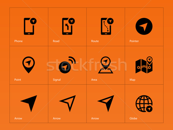 Navigator icons on orange background. Stock photo © tkacchuk