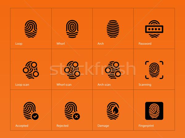 Vingerafdruk iconen oranje grafische vinger knop Stockfoto © tkacchuk