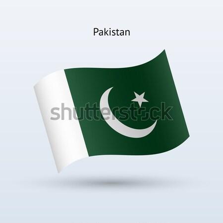 Pakisztán zászló integet űrlap szürke felirat Stock fotó © tkacchuk