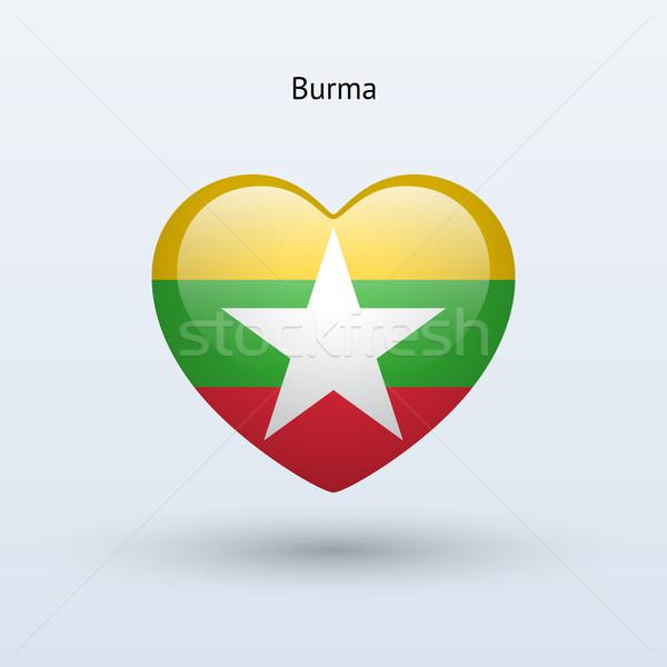 Amor birmânia símbolo coração bandeira ícone Foto stock © tkacchuk