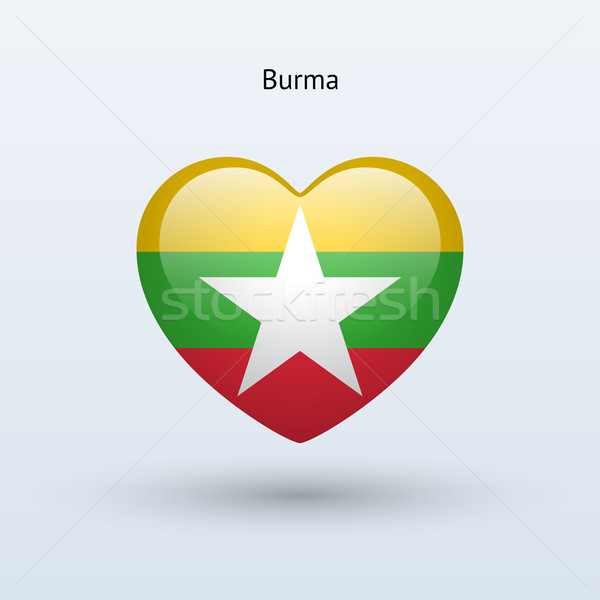 Liefde birma symbool hart vlag icon Stockfoto © tkacchuk