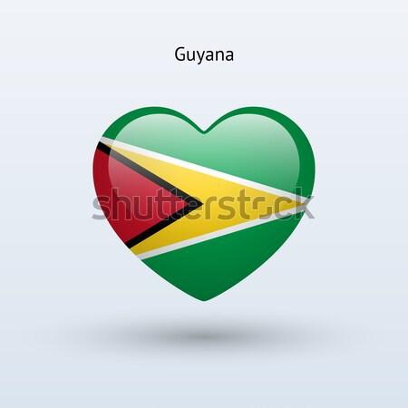 Liefde Guyana symbool hart vlag icon Stockfoto © tkacchuk