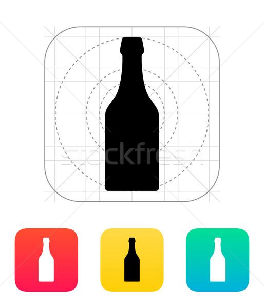 Bierfles icon bier teken silhouet witte Stockfoto © tkacchuk