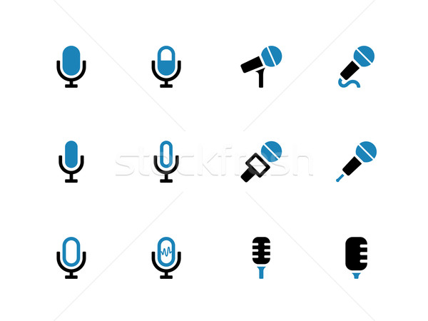 Stock photo: Microphone duotone icons on white background.
