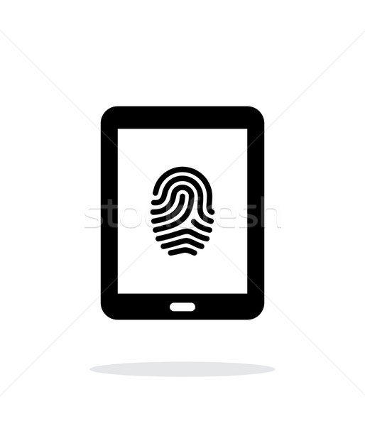 Tablet fingerprint icon on white background. Stock photo © tkacchuk