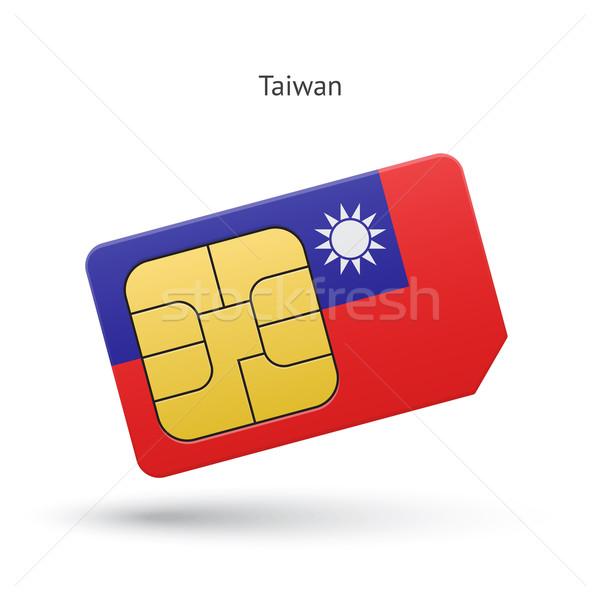 Taiwan mobile phone sim card with flag. Stock photo © tkacchuk