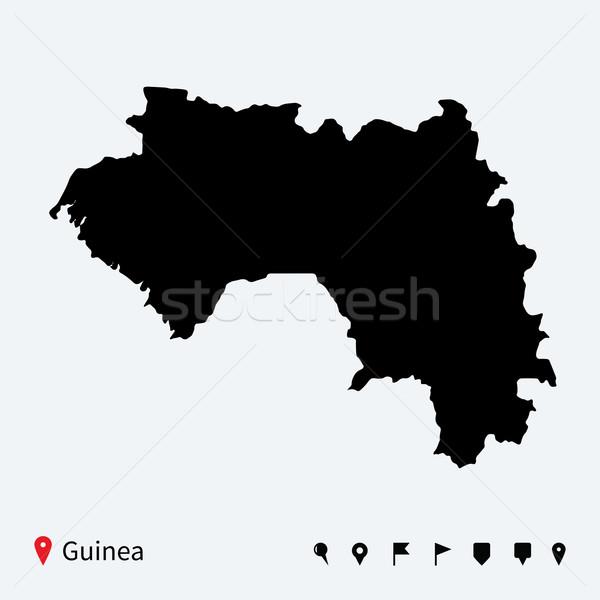 Alto detalhado vetor mapa Guiné navegação Foto stock © tkacchuk