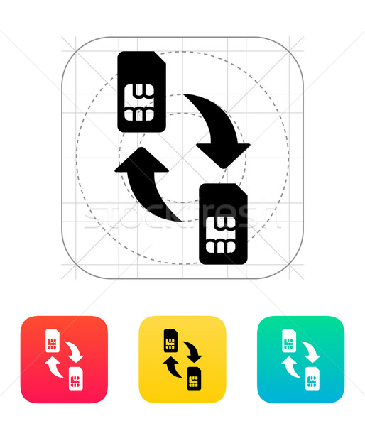 Replacement and exchange SIM cards icon. Stock photo © tkacchuk