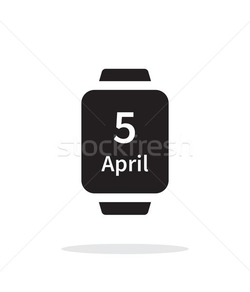 Kalendarza smart oglądać proste ikona biały Zdjęcia stock © tkacchuk