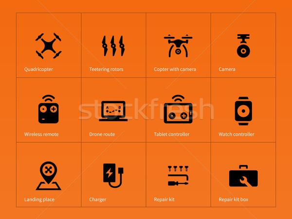 Wireless drone icons on orange background. Stock photo © tkacchuk