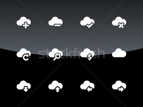 Nuage icônes noir internet portable technologie Photo stock © tkacchuk