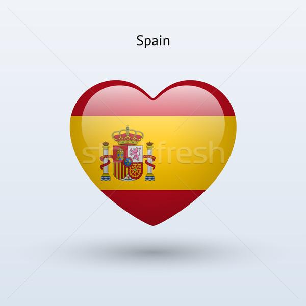 Amour Espagne symbole coeur pavillon icône Photo stock © tkacchuk