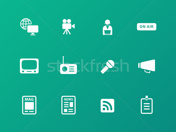 Media icons on green background. Stock photo © tkacchuk