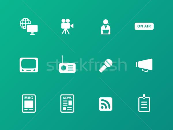Mediów ikona zielone projektu mikrofon podpisania Zdjęcia stock © tkacchuk