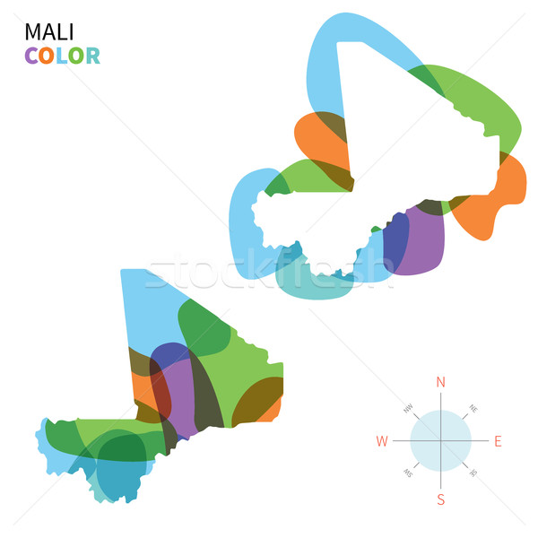 Abstract vector color map of Mali with transparent paint effect. Stock photo © tkacchuk