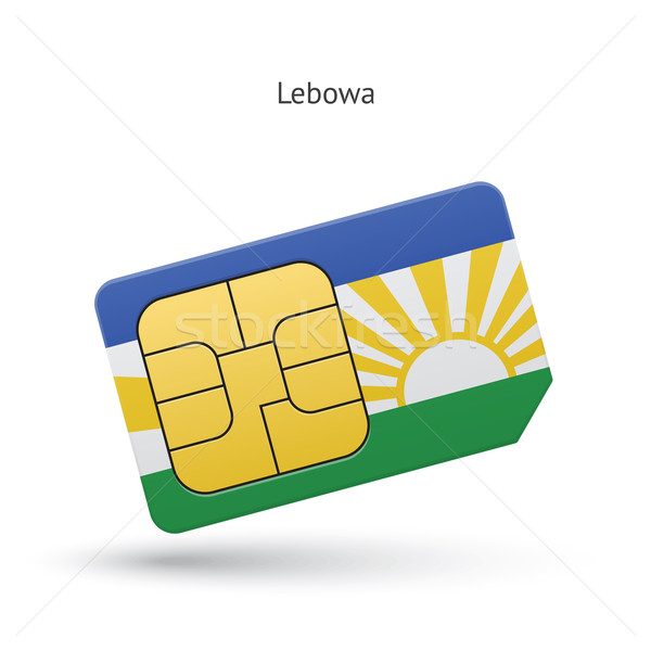 Lebowa mobile phone sim card with flag. Stock photo © tkacchuk