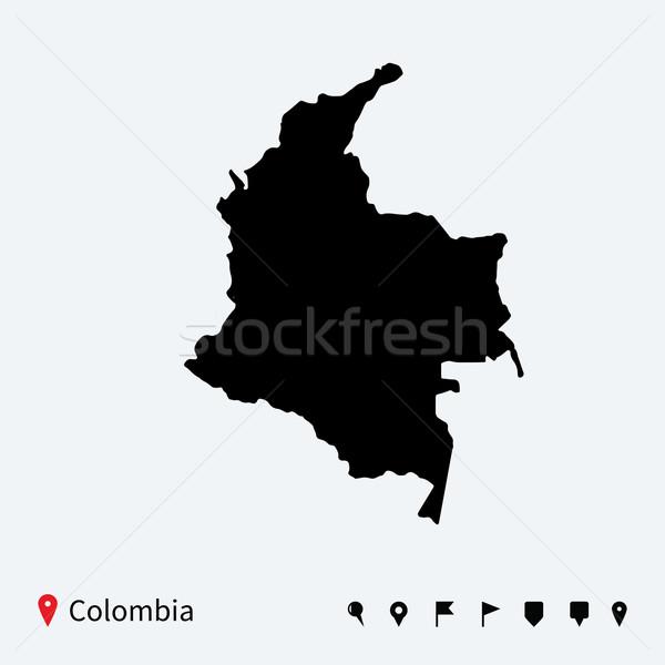Alto detalhado vetor mapa Colômbia navegação Foto stock © tkacchuk