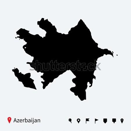 Alto detallado vector mapa Azerbaiyán navegación Foto stock © tkacchuk