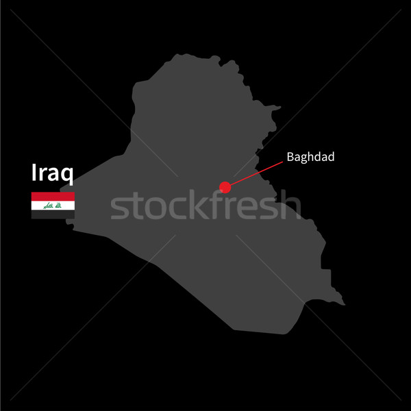 Detailed map of Iraq and capital city Baghdad with flag on black background Stock photo © tkacchuk