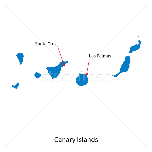 Map of Canary Islands and capital city Santa Cruz Stock photo © tkacchuk