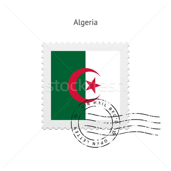 Algéria zászló postabélyeg fehér felirat levél Stock fotó © tkacchuk