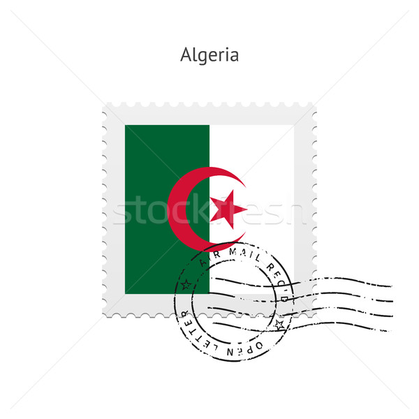 Алжир флаг почтовая марка белый знак письме Сток-фото © tkacchuk