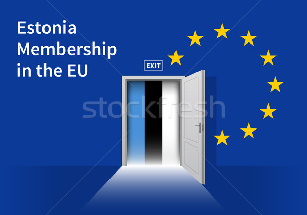 European Union flag wall with Estonia flag door. EU Flag. Stock photo © tkacchuk