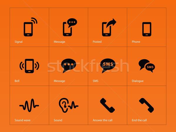 Teléfono iconos naranja negocios web auriculares Foto stock © tkacchuk